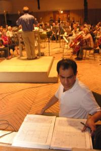 Mehdi Hosseini observes a St. Petersburg State Academic Symphony Orchestra rehearsal (2005).