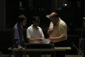 Mehdi Hosseini in a recording  project with conductor Daniel Black (2005).