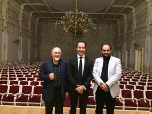 Alexander Radvilovich, Fabián Panisello and Mehdi Hosseini.November 20, 2017. Saint-Petersburg State philharmonic.