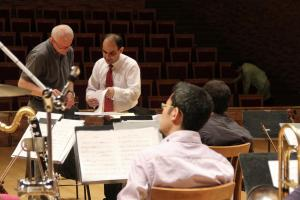 Mehdi Hosseini and conductor William in rehearsal with Namascae Lemanic Modern Ensemble (Switzerland) at the Mariinsky Theatre Concert Hall.